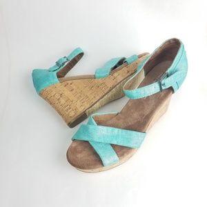 Toms Wedge Heel Sandals Size 9.5 Cork Blue Shoes